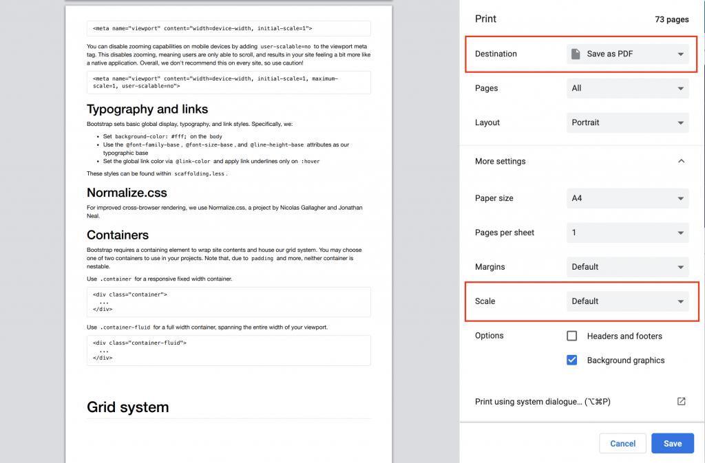 Bootstrap3 print as pdf