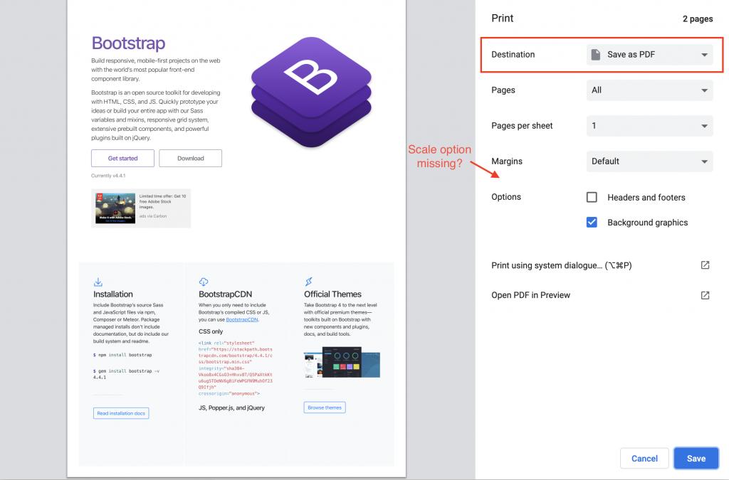 Bootstrap4 print as pdf